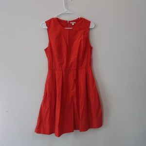Bright red pleated dress. Pockets sz 4 100% cotton